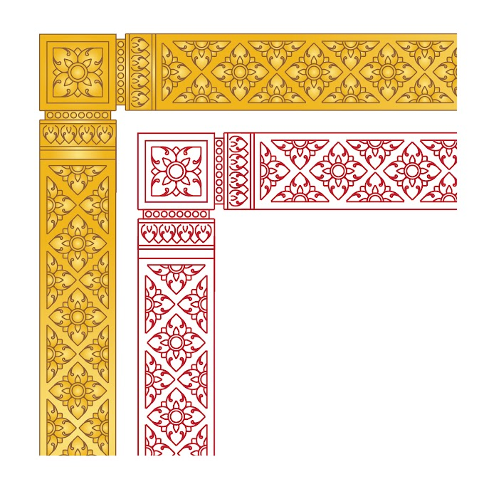 a study of khmer ornament - Khmer Frame Border Free vector
