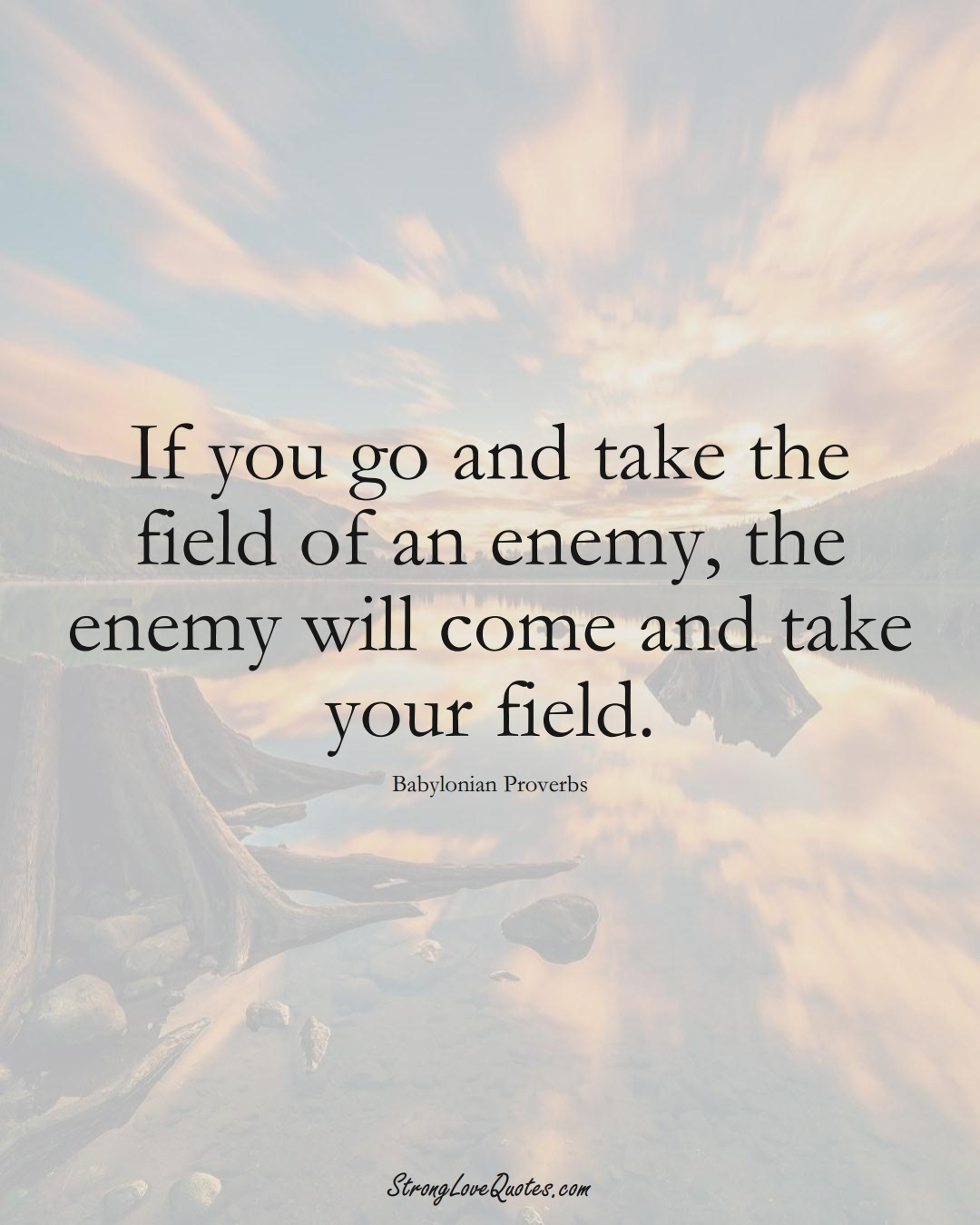 If you go and take the field of an enemy, the enemy will come and take your field. (Babylonian Sayings);  #aVarietyofCulturesSayings