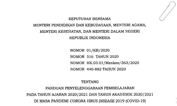 Panduan Penyelenggaraan Pembelajaran Pada Tahun Ajaran 2020/2021 Dimasa Pandemi  COVID-19