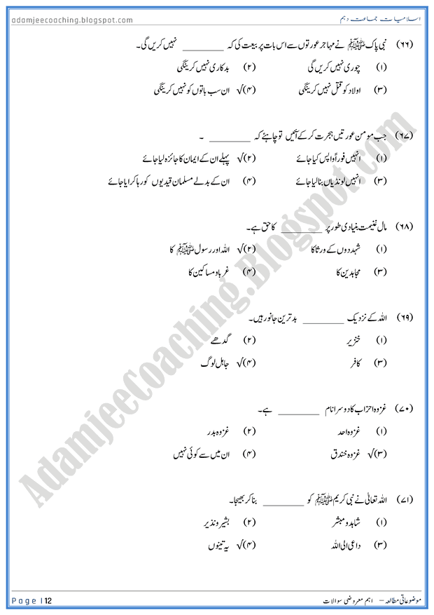 important-mcqs-islamiat-10th-