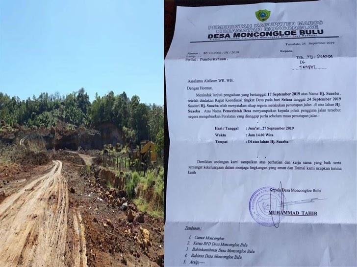 Hj Suaeba Pemilik Lahan Bersama Warga Moncongloe Bulu Besok Akan Tutup Jalan