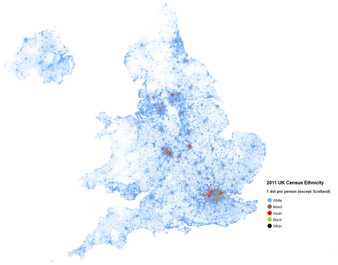UK ethnicity map (ont dot per person)