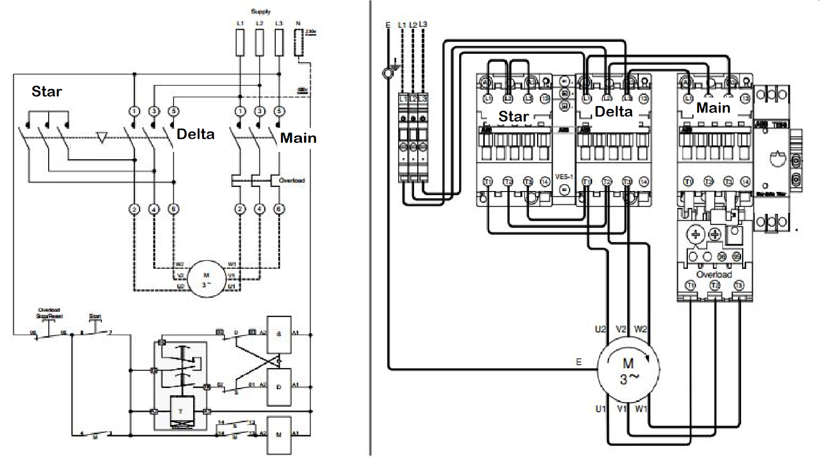 wiring diagram of star delta motor starter