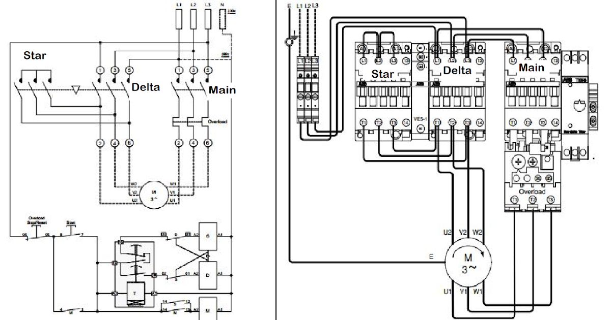 wiring diagram 3 phase star delta starter
