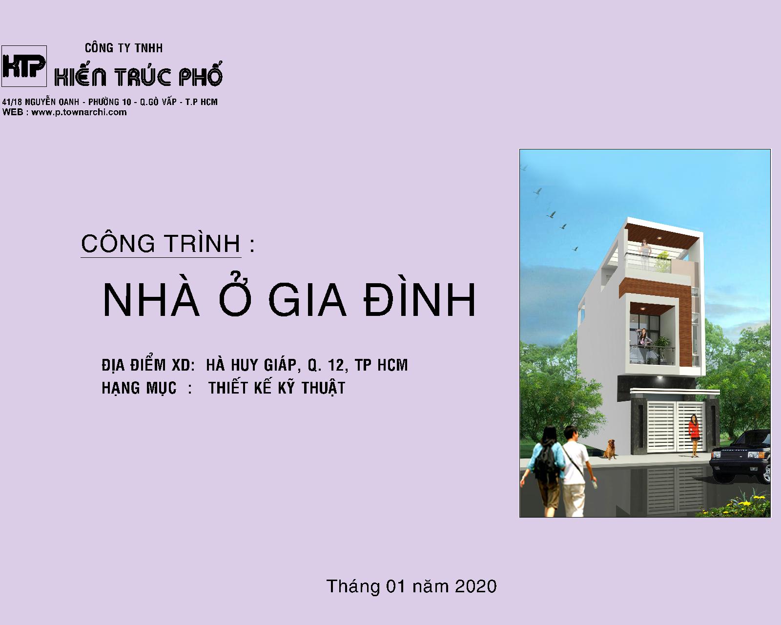 Bìa hồ sơ thiết kế chi tiết nhà phố 4x 12 mét 3 tầng