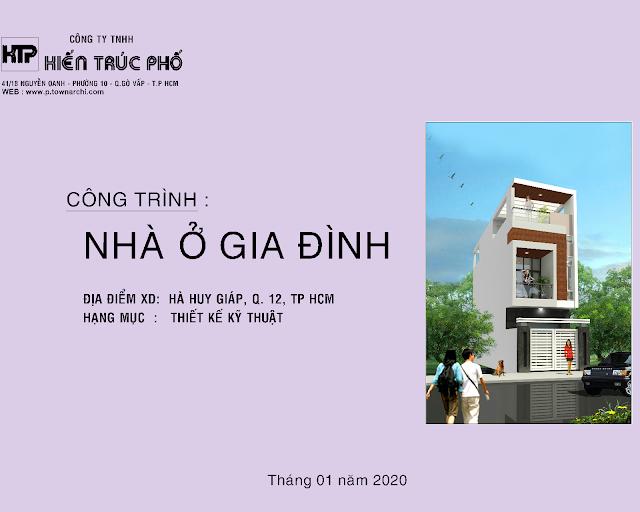 Hồ sơ thiết kế chi tiết nhà phố 4x 12 mét 3 tầng ở quận 12