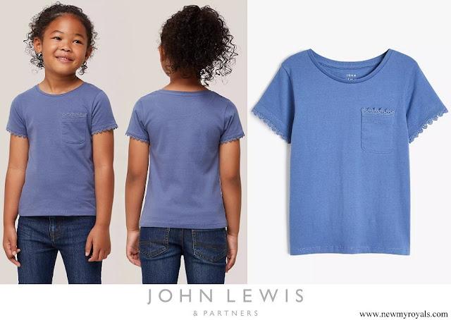 Princess Charlotte wore John Lewis & Partners Kids Lace Trim Short Sleeve T-Shirt