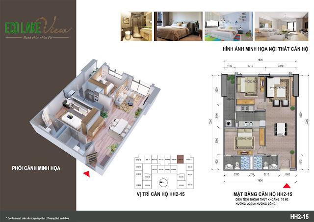 Thiết kế căn hộ 15 tòa HH-02 Eco Lake View