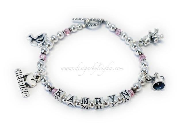Kamryn Cheer Charm Bracelet with I Heart Cheering Charm, Dove Charm, Megaphone Charm and Teddy Bear Charm