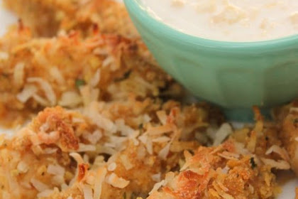 COCONUT CHICKEN STRIPS WITH PINA COLADA SAUCE