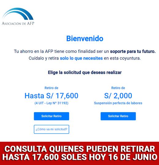 AFP: ¿Quiénes Pueden Solicitar El Retiro De 17.600 Soles Hoy Lunes 16 De Junio Del 2021?