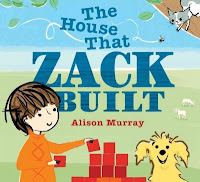 Book jacket for The House that Zack Built with a young boy building with blocks in a farm yard, next to a dog