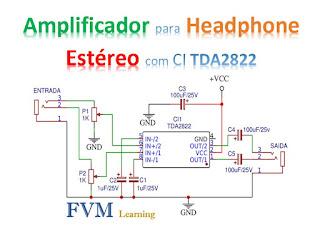 Amplificador para Headphone Estéreo com CI TDA2822