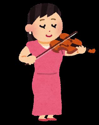 バイオリンを演奏する女性のイラスト(オーケストラ)