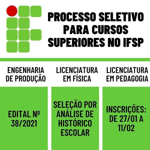 Processo Seletivo para Cursos Superiores no IFSP CAMPUS REGISTRO-SP