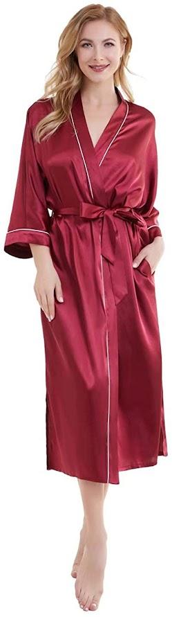 Beautiful Women's Red Satin Robes