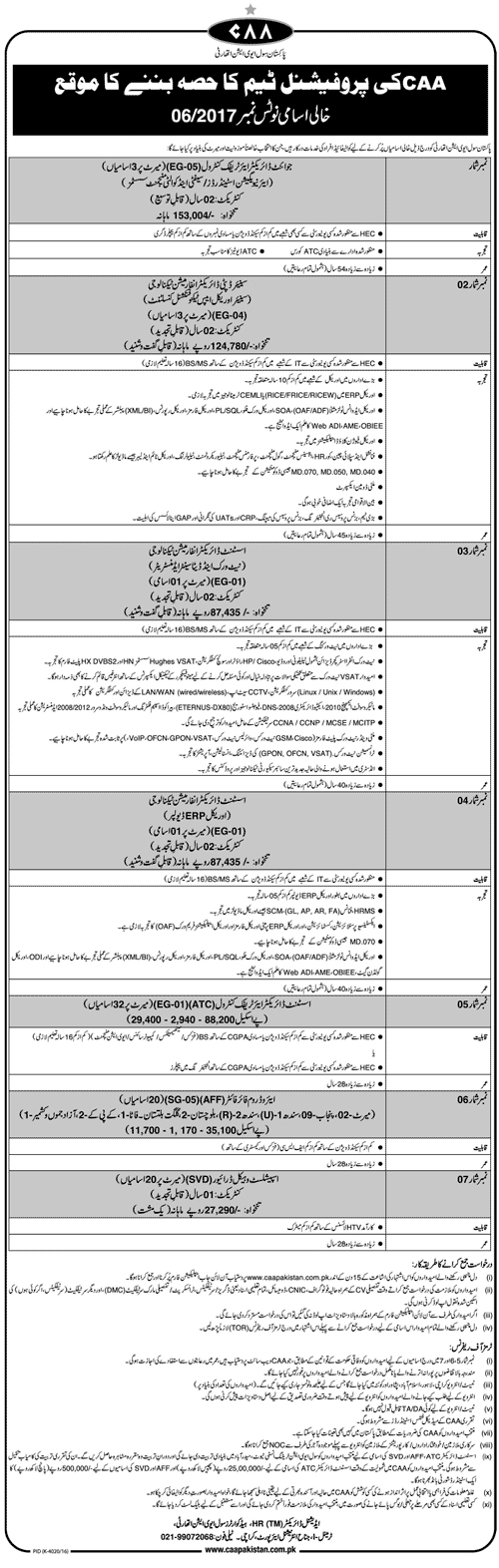 Staff Required In Pakistan Civil Aviation Authority Karachi 23 April 2017