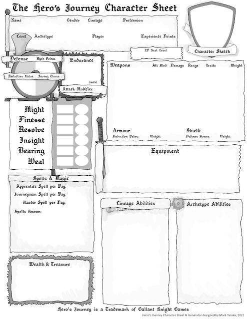 The Hero's Journey 2e Warrior Character Generator