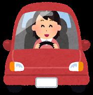 運転している女性のイラスト(笑う)