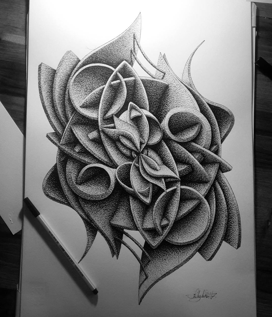 08-in-my-mind-art-Complex-Geometric-shapes-in-Ink-Stippling-Drawings-www-designstack-co