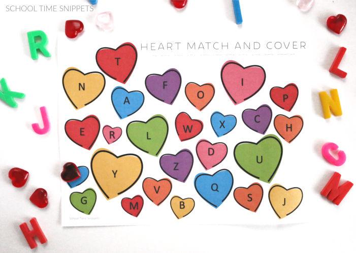 abc recognition Valentine printable for preschool