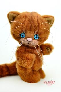Artist teddy kitten, ooak cat, handmade kitten, NatalKa Creations, teddies with charm, Teddy Katze, Teddy Kater, red kitten, buy teddy kitten, Teddy Katze kaufen