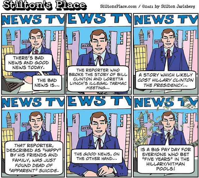 stilton's place, stilton, political, humor, conservative, cartoons, jokes, hope n' change, hillary, tarmac, reporter, suicide, murder, lynch, election