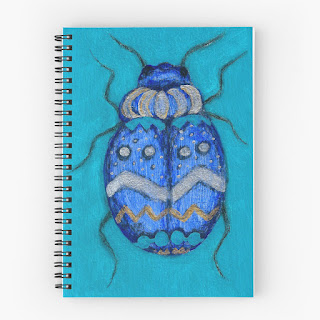 blue beetle bug spiral notebook