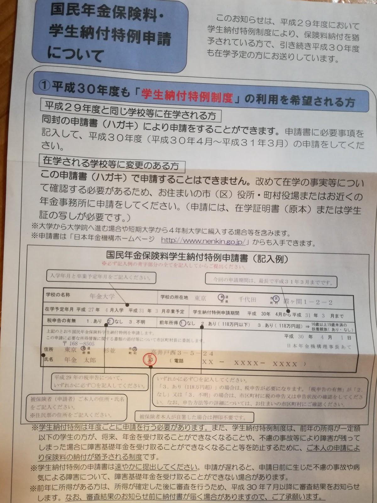納付 書 申請 学生 年金 特例 国民