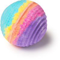 A ridged oval bath bomb coloured with red, yellow, blue and purple on a bright background