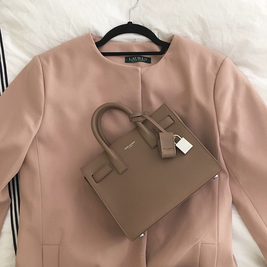 blush jacket and bag