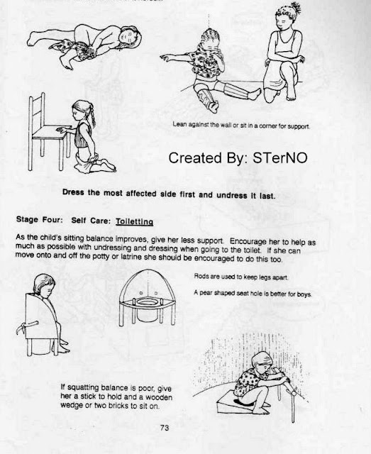 Ban bekas dan 2 kursi untuk latihan pasien CP