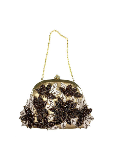 Elegant Embroideried Beaded Small Clasp Lock Evening Clutch
