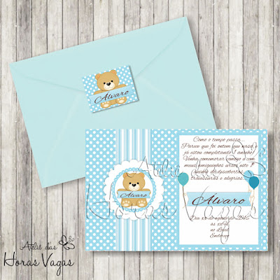 convite aniversário infantil personalizado ursinho urso poá bolinha azul branco 1 aninho festa bebê menino envelope adesivo tag