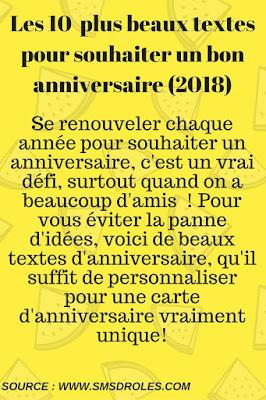 SMS d'anniversaire 2018