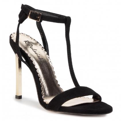 Sandale dama negre cu toc inalt elegante negre piele naturala R.POLAŃSKI