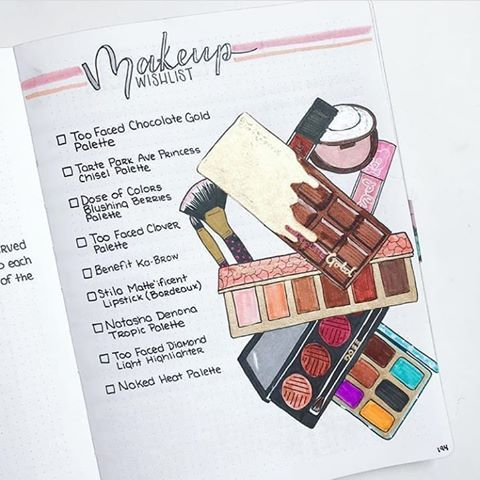 makeup wishlist bujo