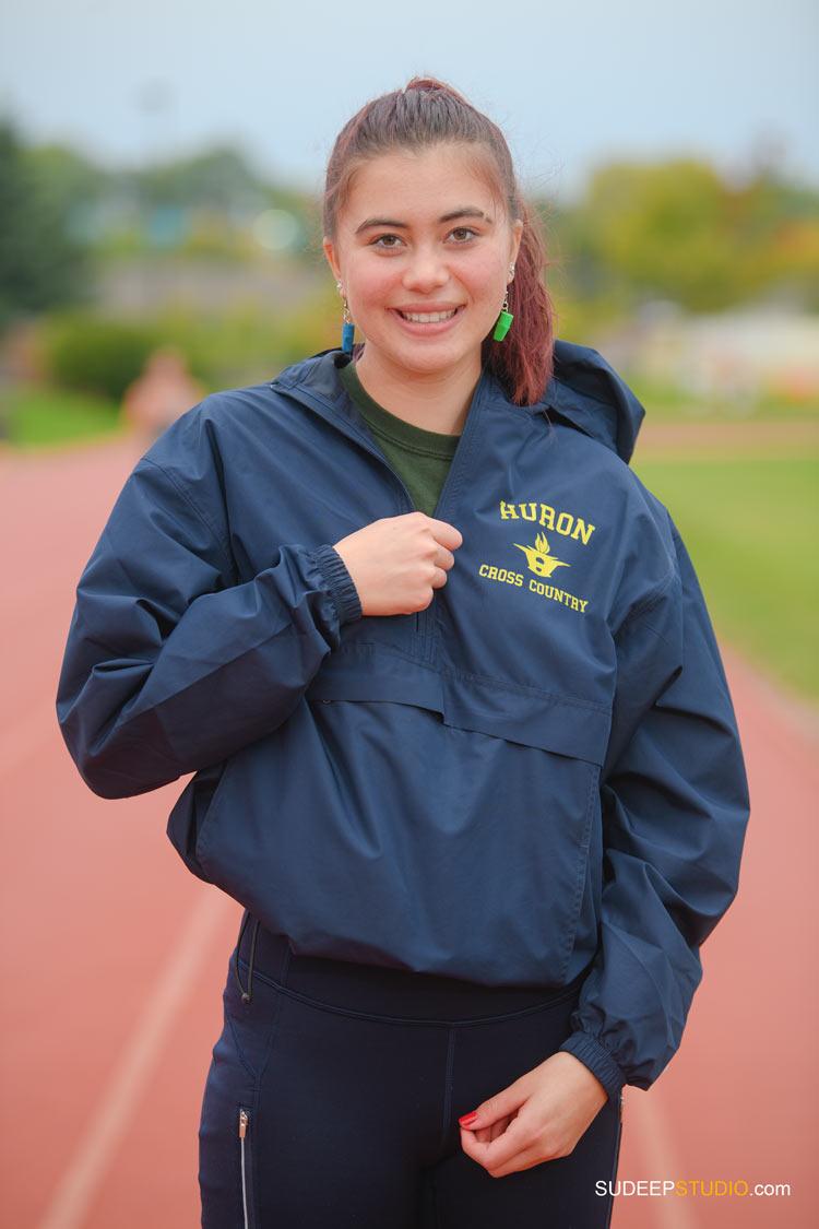 Huron High School Girls Senior Portrait in Sports Running Track SudeepStudio.com Ann Arbor Senior Pictures Photographer