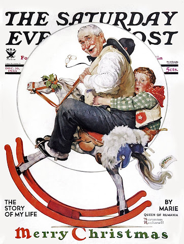 1933 Grandpa and Rocking Horse by Norman Rockwell
