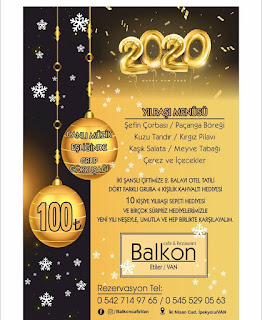 Balkon Cafe Van Yılbaşı Programı 2020 Menüsü