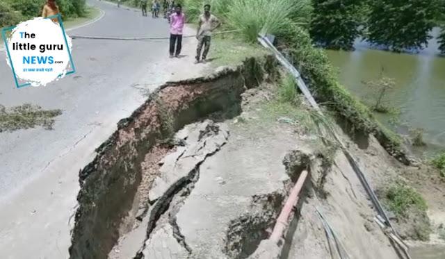 नवनिर्मित बाराघाट पुल का एप्रोच पथ नदी में समाया, कई जिलों से कटा संपर्क