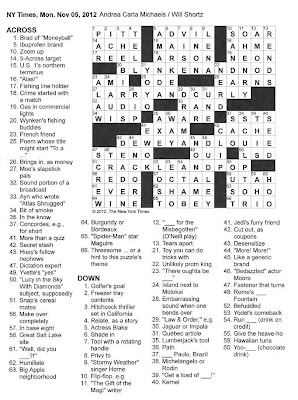 The New York Times Crossword in Gothic: 11.05.12 — Trio
