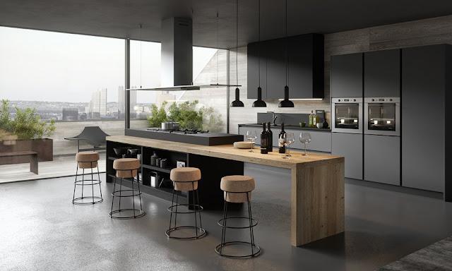 Cuisine moderne gris anthracite et bois - Cuisine Moderne Avec Ilot