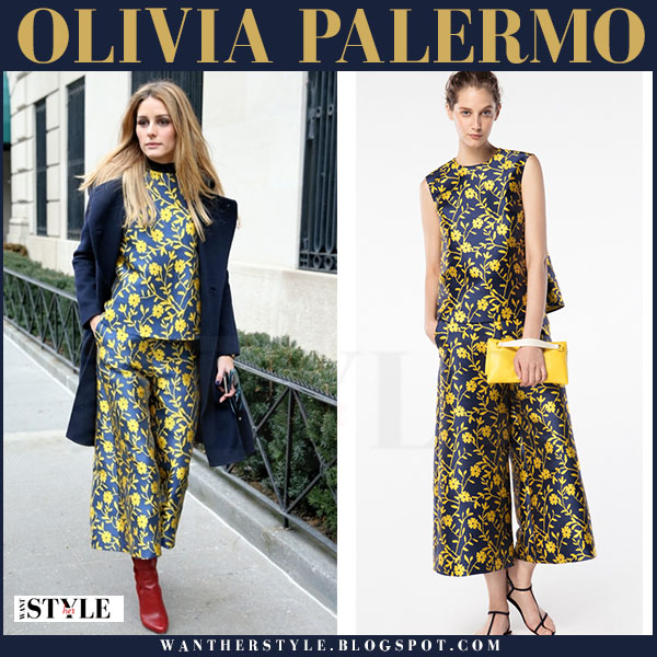 Olivia Palermo in blue and yellow flower print matching top and culotte pants carolina herrera front row what she wore