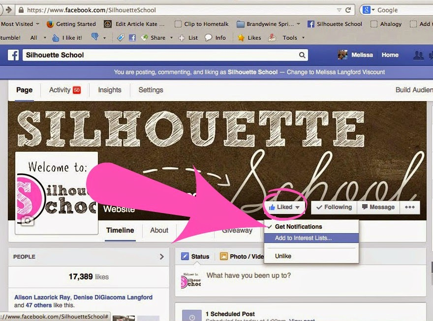 Facebook page, Silhouette School Blog