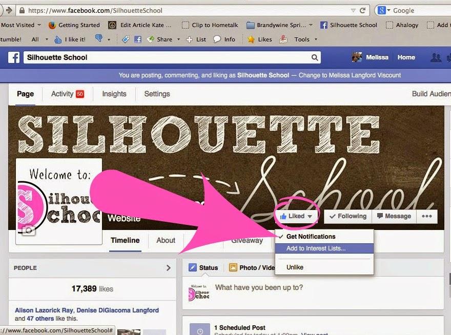 Facebook page, Silhouette School Blog