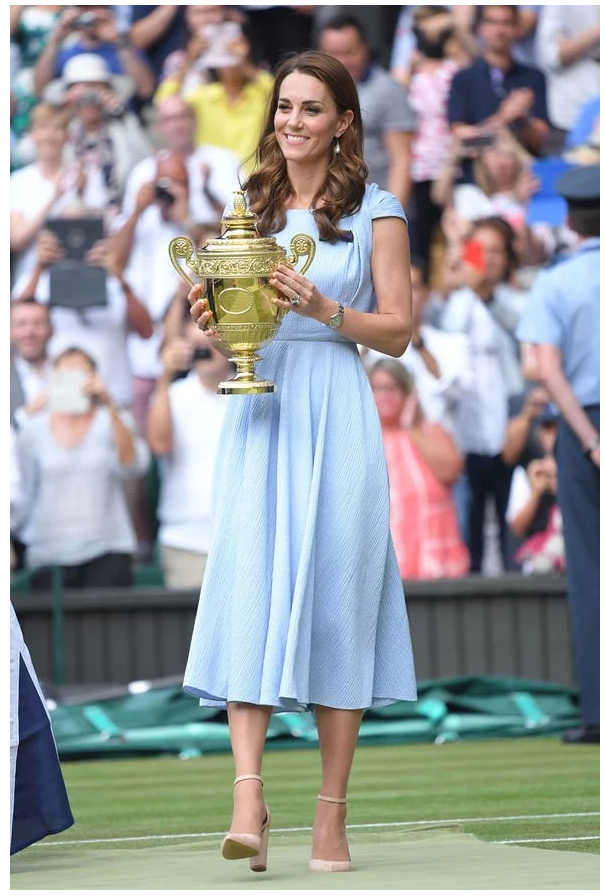 Duchess Kate presented the Wimbledon trophy to defending champion Novak Djokovic (Image: Getty)