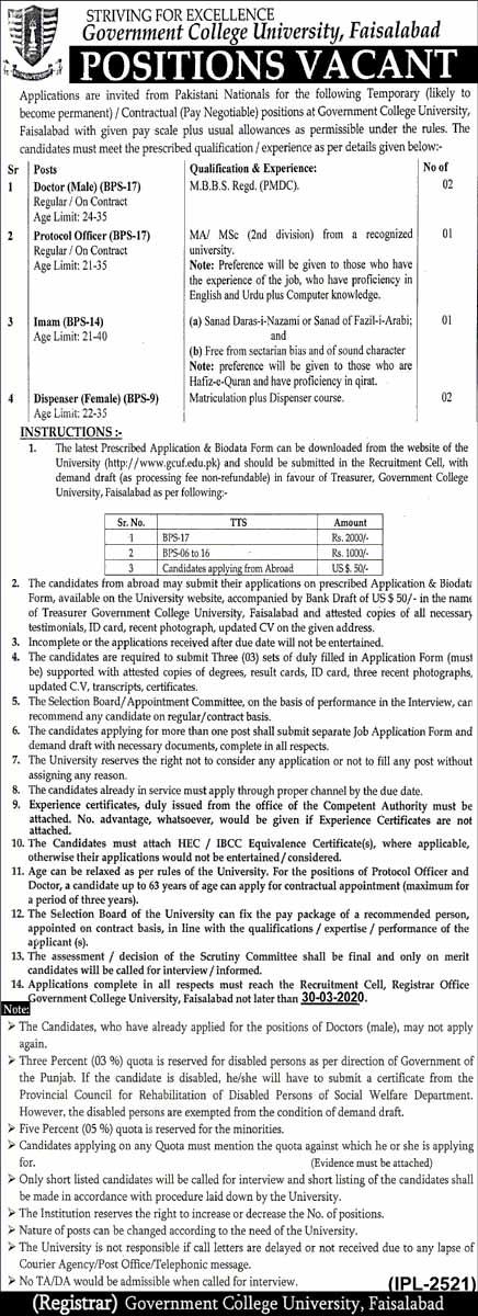 GC Universt of Faisalabad Jobs 2020