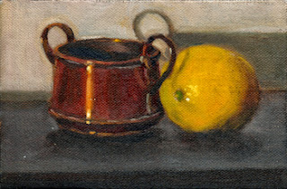 Oil painting of a small double-handled copper pot beside a lemon.