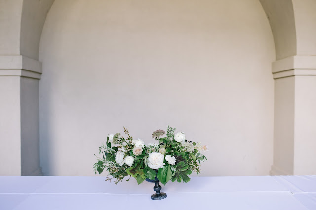 lush white floral arrangement for a classical white garden wedding in Utah